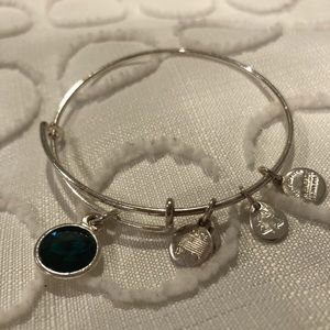 Silver Alex and ani bracelet with emerald